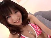 Curvy brunette Asian Arisa Suzuki gets her meaty pussy fingered