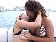 Crazy College Sluts Get Naked & Eat Pussy On A Boat