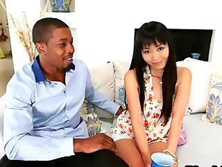 A very sexy Asian chick Marica Hase takes large black penis and blows it properly - Marica A