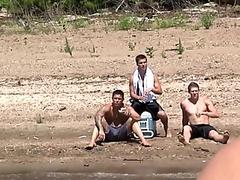 Gay outdoor orgy action after skinnydipping