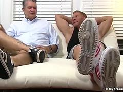 Mature guys feet worship makes a hunk stroke until cumming
