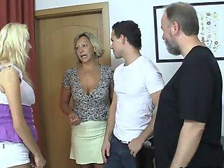 Old mom seduces his new girl into taboo sex