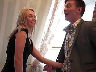Blonde beauty Brandy Blair gets a faceful of cum from a big hard cock