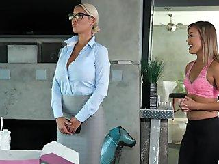 Spanish inspector visits a messy massage spa - Bridgette B and Christy Love