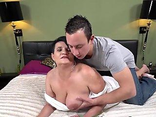 Busty cut ladyboy whips her cock out