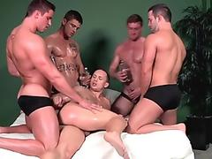 Hunky jocks in group assfucking before cumming