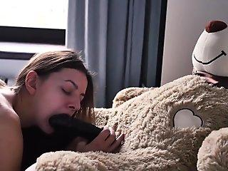 Young Teen student and daddy teddy bear morning sex with cum