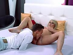Blonde big tits Lucy Zara fucks huge dildo toy in full latex