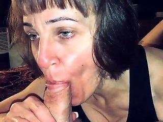 Mature Hot Wife Sucking our Friends Cock while I Record and ask her Questions.