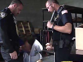 Cheating suspect is contrived into a steamy threeway with gay cops