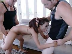 ExxxtraSmall - super-cute puny Thief Fucked By Two cocks