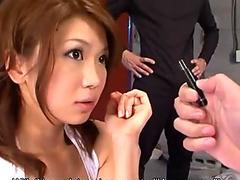 Runa Sesaki and inspector in dirty sex game
