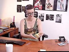 Hirsute first-timer lady squirts in the office