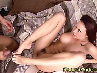 Busty babes toes cumshot