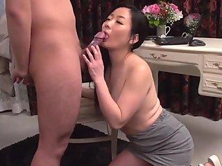 Tiny Japanese honey nailed between gams outdoors