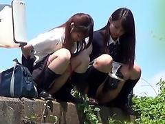 Teen asians piss outside