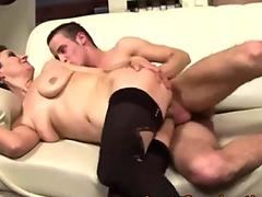 Busty ash-blonde amazes new boss fingering wet pussy to orgasm in tights