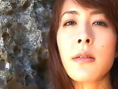Shiny Asian fairy Rika Kawamura poses on cam on the sea shore