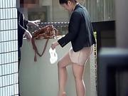 Asian hotties pissing outside