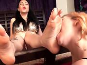 Dolce gets cum all over her pretty face!