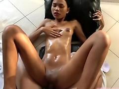scorching Thai stunner oiled down and fucked hard by Japan dude