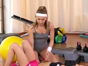 Lesbian fitness coach getting licked