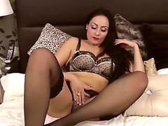 Sophia Delane is an glamour milf in her undergarments, rubbing her pussy