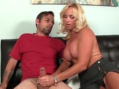 Busty mature jerks off daughters boyfriend