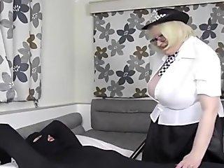 Granny big tits Policewoman gives out a hand job
