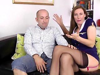 Doggystyled british milf sucking hard cock