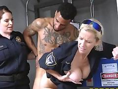 Scrawny thug is contrived by horny milf cops at their bunker