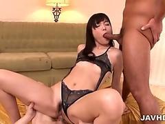 Cock hungry Megumi Shino skull fucked by a throbbing cock.