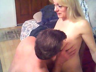 Hot blonde gives a hot blowjob and swallows a big load of cum