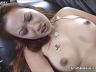 Oriental chick opens her legs wide and enjoys pussy licker