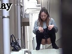 cutie gals show sexy upskirt to the public