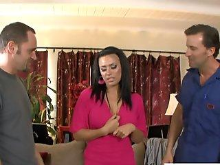 Horny Eva Angelina taking two big dicks
