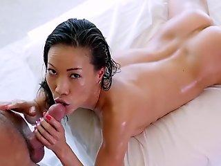 PureMature tiny chinese Kalina Ryu caresses her lubed up body all over big dick