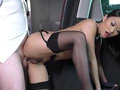 Asian babe jerking cock and getting creamed