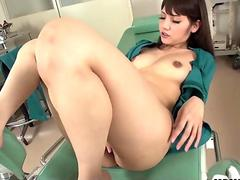 Japanese nurse, Rei Mizuna is masturbating, uncensored