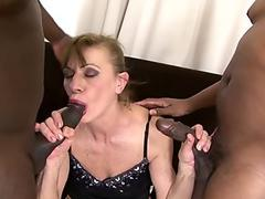 Teasing MILF jerking cock gently and slowly