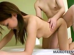 Pretty skinny teen Kazuha Kimura blows cock and fucks doggy style