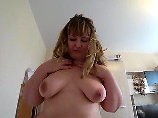 A beautiful bbw leaps on a faux-cock and jiggling a big butt in panties.