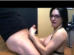 Man wanking and cum inside pantyhose