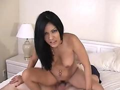 Sexy Thai brunette pleasing the fat slob with ease