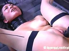 The BDSM master works on the pussy of Nyssa Nevers with scary looking vibrators
