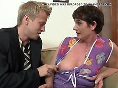He fucks her hairy old pussy