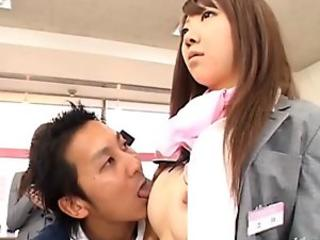 Kinky nippon teacher facialized in her office