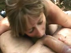 Granny Juditta Giving Head To Big Dick In Woods