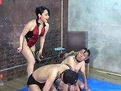 Asian Tranny fucked in the asshole in threesome