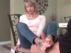 Huge facial with shoes on the red bed